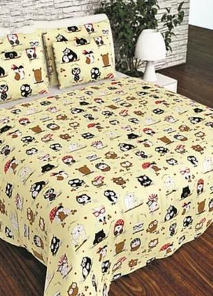 Детское хлопковое полуторное постельное белье совы на бежевом в подарочной упаковке