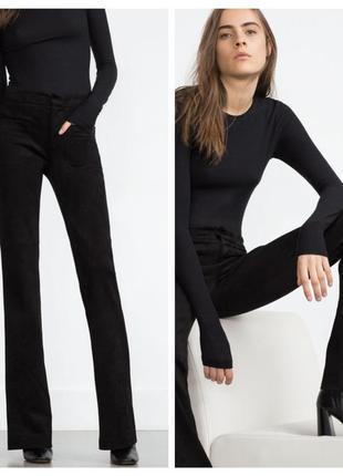 Урокоченные бархатные брюки zara premium collection, 36 р.