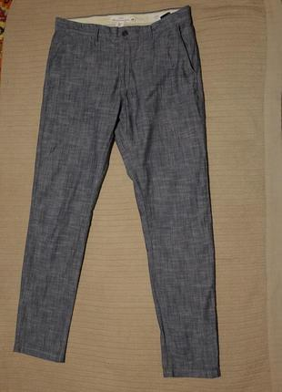 Стильные узкие серые х/б меланжевые брюки l.o.g.g. slim fit швеция 34 р.