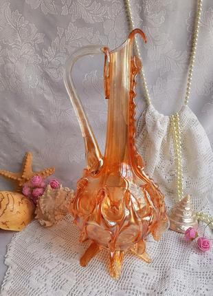 Кувшин, чехословакия, карнавальное карамельное стекло, гутная техника, графин