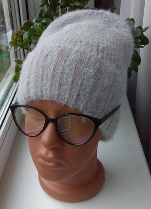 Sale!! новая мягкая ангоровая шапка бини (на флисе) серая с фиолетовым