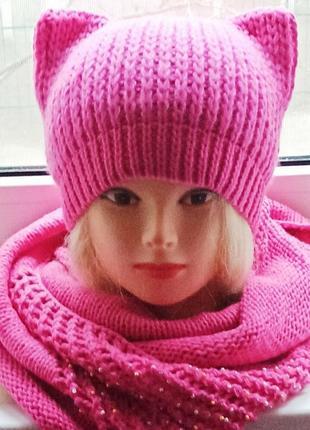 Шапка с ушками и снуд аксессуар ярко-розовый