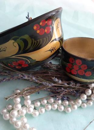 Солонка + сахарница, хохлома дерево ручная роспись винтаж ваза посуда