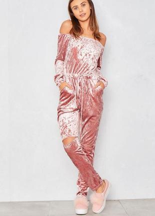 Шикарный розовый велюровый женский комбинезон