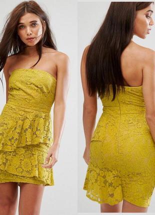 Нарядное кружевное платье бюстье по фигуре, платье мини гипюр asos