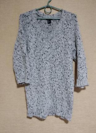 Свитер кофта пуловер удлиненный с вырезом