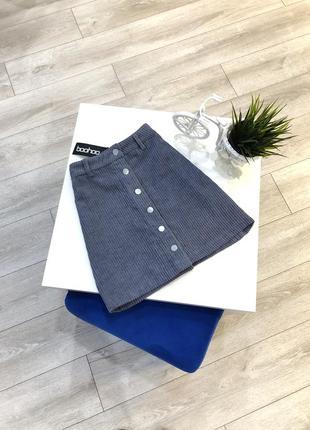 Вельветовая юбка трапеция на кнопках asos, юбка мини вельвет на пуговицах