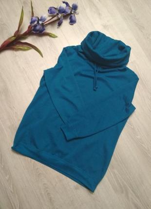 Теплое синие лазурное худи толстовка на флисе