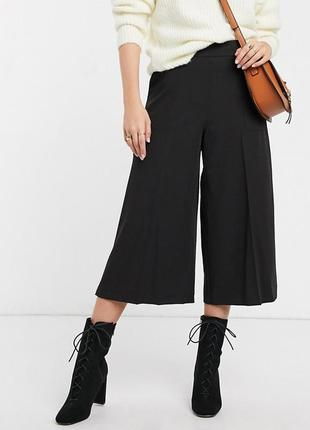 Чёрные плотные брюки кюлоты asos, классические свободные штаны