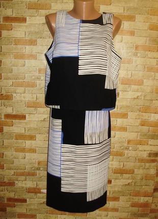 Классный комплект топ-блуза и юбка карандаш гео принт 48-50 размера