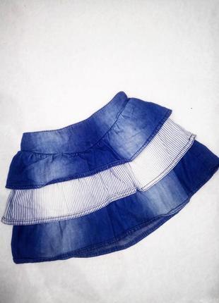 2-3г. 92-98см. джинсовая юбка, рюш ,резинка в поясе ,коттон george