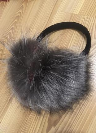 Меховые наушники кролик чернобурка