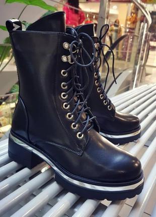 Зимние ботинки берцы из качественной кожи, черные