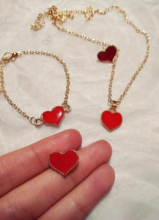 Набор украшений серьги, браслет и цепочка с подвеской! красная эмаль! горячая цена!