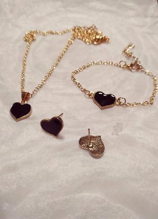 Набор украшений серьги, браслет и цепочка с подвеской! черная эмаль! горячая цена!