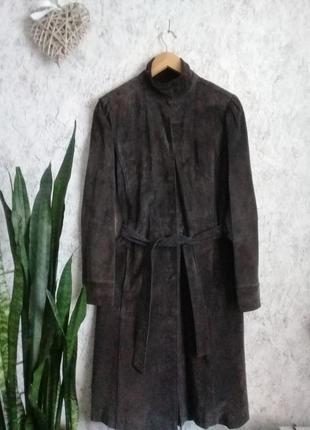 Шоколадное длинное брендовое пальто из натуральной замши  от topshop