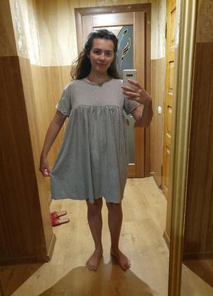 Платье футболка летнее свободного кроя коттон хлопок  можно для беременных