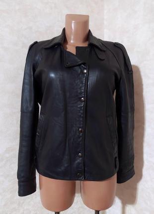 Черная кожаная куртка косуха кожа наппа, италия, s-m