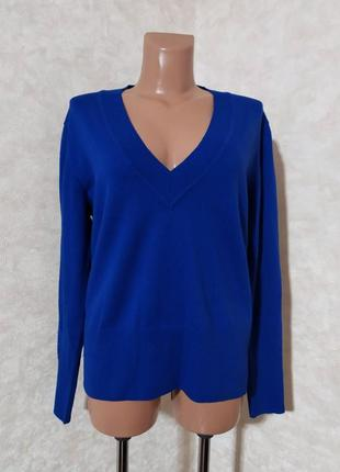 Ярко-синий джемпер пуловер, 100% шерсть мериноса, xl-xxl