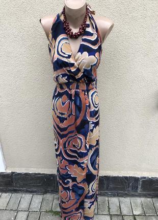 Шелк100%,длинное платье,сарафан,открытая спина,летнее,пояжное