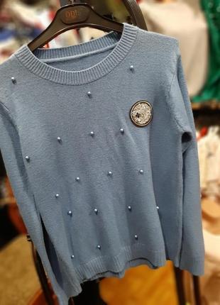 Кашемировый свитерок с бусинами