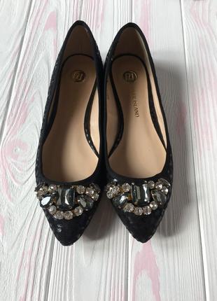 Лодочки балетки лоферы туфли из текстиля под замшу с камнями сваровски новые с биркой