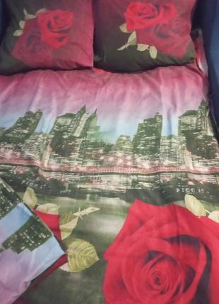 Постельное белье 3d  ночной город (полуторное)