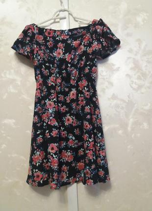 Цветочное платье со спущенными плечами london  collection