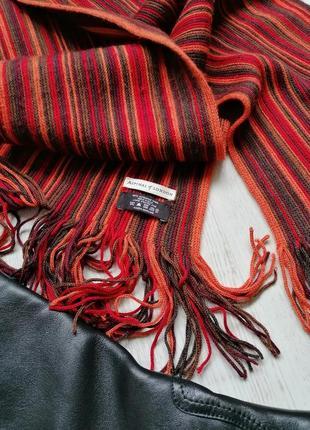 🌹длинный шерстяной шарф в полоску в стиле sonia rykiel🌹терракотовый шарф