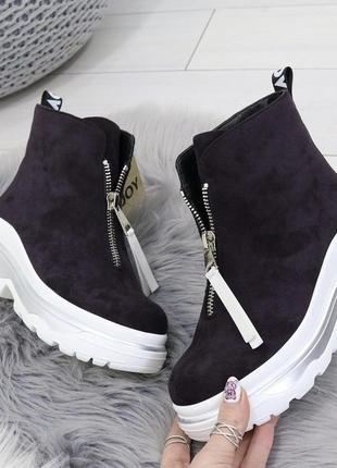 Новые шикарные женские демисезонные фиолетовые ботинки