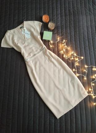 Роскошное платье футляр (100% вискоза) пудровый оттенок