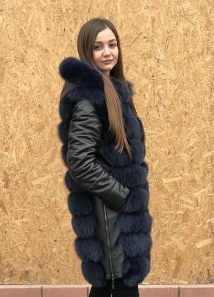 Шуба финский песец,кожаный рукав