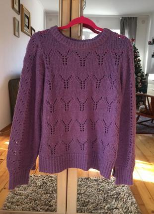 В'язаний светр із лани та шерсті альпаки