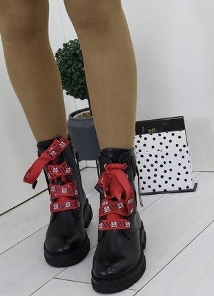 Новые шикарные женские демисезонные черные ботинки