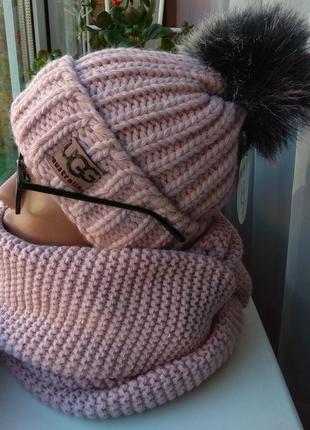 Новый красивый комплект: шапка (на флисе) и хомут восьмерка, розовая пудра