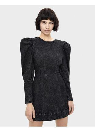 Трендовое теплое платье с горлом и рукавами буфами на высоких манжетах mango xs s