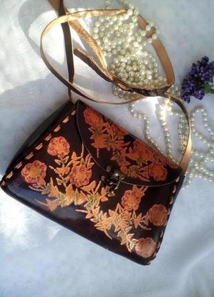 Сумка genuine leather (натуральная резная кожа), индия, клатч на ремне