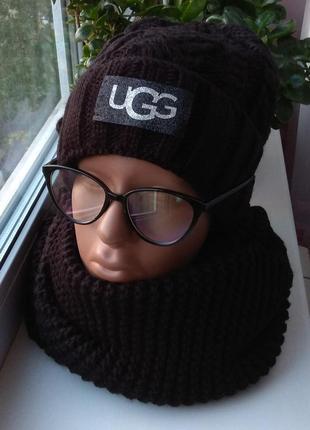 Новый стильный комплект: шапка на флисе и хомут, черный