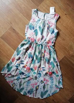 Шифоновое платье в цветочный принт, тропический принт, сукна, сарафан