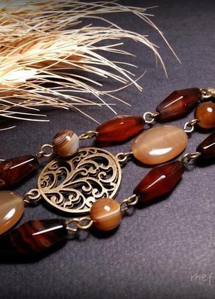 Агатовый коричневый бежевый браслет с деревом жизни