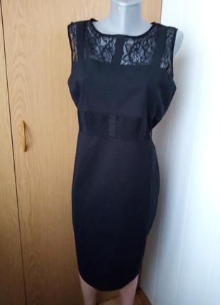 Нарядное чёрное платье с крежевом и накидка