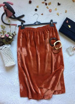 Шикарная бархатная миди юбка сочного морковного цвета /h&m/ размер l