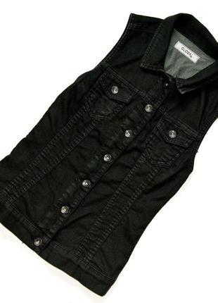 Стильная удлиненная джинсовая жилетка,приталенный фасон