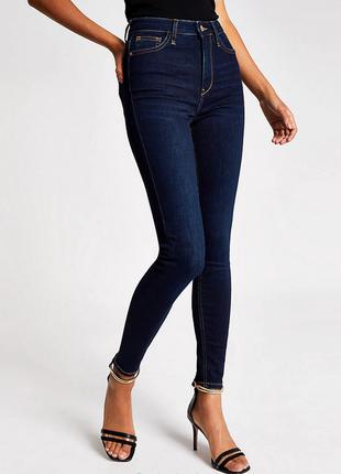 Стрейтчевые плотные джинсы скинни скини высокая посадка f&f