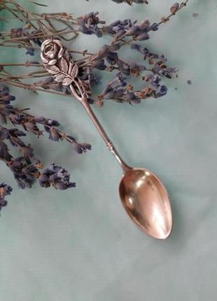 Ложка хильдисхаймская роза, германия, серебро 800, кофейная ложечка