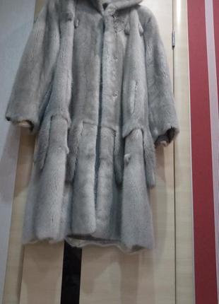 Роскошная норковая шубка голубая норка 46-48-50