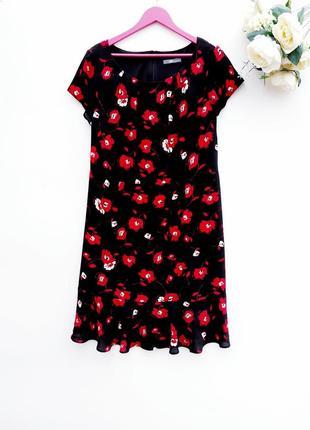 Шикарное платье миди летнее платье с ярким цветком большой размер