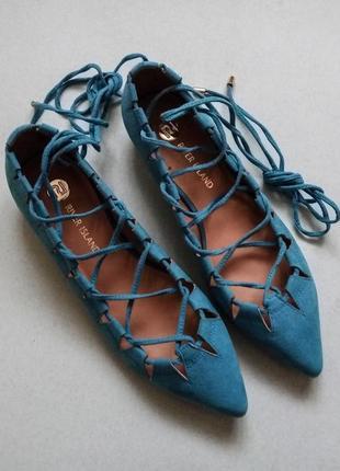 Туфли на низком каблуке, балетки, лодочки со шнуровкой river island