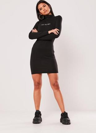 Чёрное трикотажное платье гольф с надписью asos, платье мини под горло с длинным рукавом