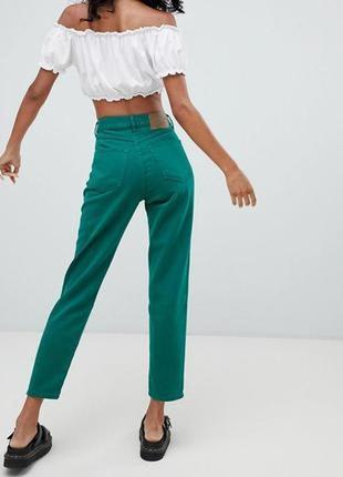 Трендовые изумрудные мом джинсы с высокой посадкой момы xs s